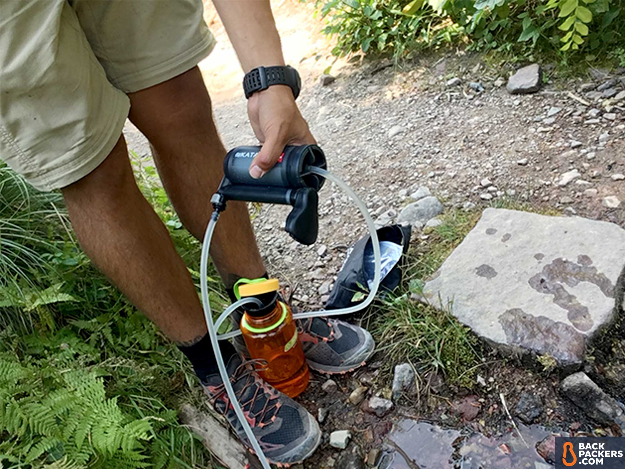 Katadyn-Hiker-Pro-review-on-trail-with-water-bottle